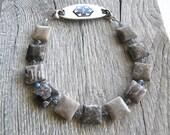 Fossil Jasper Men's or Women's Medical ID Bracelet, Gemstone Alert Bracelet, Replacement Bracelet