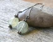 Long Prehnite Sterling Silver Earrings, Green Stone Dangle Earrings