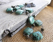 African Turquoise and Pyrite Long Sterling Silver Chain Layering Necklace