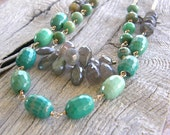 Lux Extra Long Green Opal, Labradorite and Gold Multi-Strand 2 in 1 Necklace,