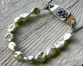 Light Green Pearl Medical ID Bracelet, Gemstone Detachable Sterling Silver Bracelet, Medical Bracelet Attachment
