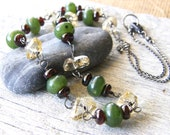 Jade, Citrine and Garnet Necklace and Earring Set