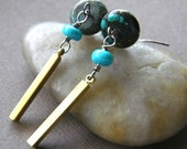 Turquoise and Gold Brass Earrings, Blue-Green Turquoise and Vintage Brass Dangle Earrings