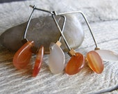 Red and Orange Agate and Mixed Metals Brass and Silver Geometric Earrings