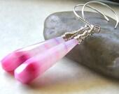 Pink Stripe Chalcedony Earrings, Ombre Pink Earrings, Neon Bright Pink Teardrop Earrings, Simple Modern Pink Earrings