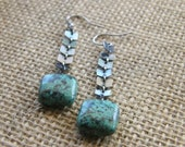 Tribal African Turquoise and Chevron Sterling Silver Chain Earrings