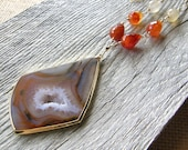 Extra Long Red and Orange Agate and Gold Chain Necklace, Layering Stone Pendant Necklace