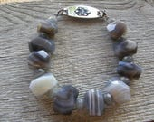 Chunky Botswana Agate Medical ID Bracelet, Statement Gemstone Alert Bracelet, Double Clasp Replacement Bracelet