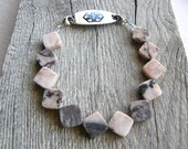 Pink Opal Medical ID Bracelet, Diamond Shape Gemstone Alert Bracelet, Double Clasp Replacement Bracelet
