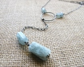 Aquamarine Lariat Style Sterling Silver Long Drop Necklace