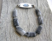 Men's or Women's Picasso Jasper Medical ID Bracelet, Black, Grey and White Alert Bracelet, Double Clasp Replacement Bracelet