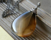 Black and Brown Agate Necklace, Stone Teardrop Necklace