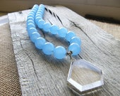 Blue Chalcedony and Crystal Quartz Pendant Statement Necklace