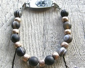 Unisex Medical ID Detachable Bracelet, African Silver and Banded Black Agate Replacement Bracelet