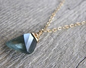 Moss Aquamarine Mixed Metals Silver and Gold Necklace