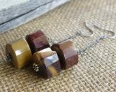 Mookite Jasper Sterling Silver Drop Earrings, Maroon and Mustard Gemstone Earrings