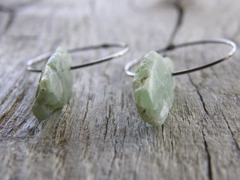 Green Kyanite Blade Hoop Earrings