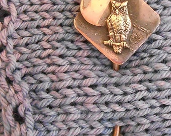 Shawl pin copper with Bronze Owl and Full Moon