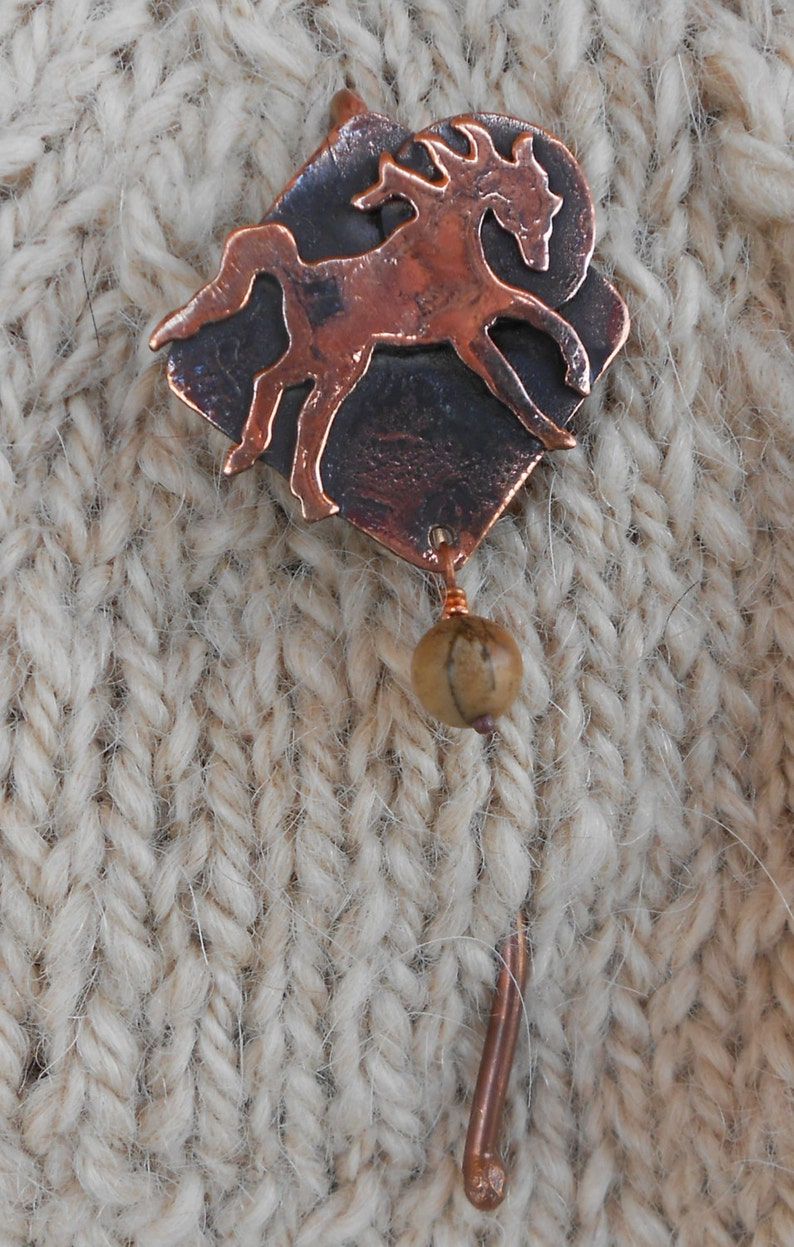 Shawl pin copper with Frolicking Horse and sun design with picture jasper bead