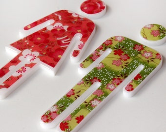 decor bathroom sign, Male/Female WC green-red-flowers