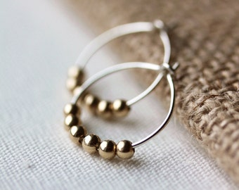 Sterling Hoop Earrings, Gold Filled Beads, Mixed Metal Jewelry, Geometric Jewelry,Gift for Her,Handmade by Maki Y deisgn