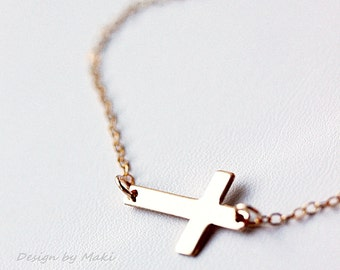Sideway Cross Necklace GOLD FILLED Celebrity Style- Best Friend,Everyday Jewelry,Sweet 16 Gifts, Birthday, Sisters,Handmade by Maki Y design