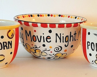 NEW Set of 3 popcorn bowls for a fun family Movie Night