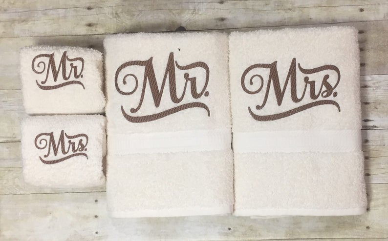 Wedding Gift, Wedding Present, Bridal Gift, Bridal Present, Bridal Shower  Gift, Bridal Shower Gifts, Gift for Him and Her, Mr and Mrs Towels