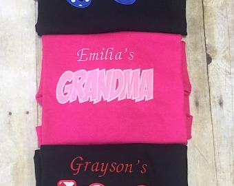 Gigi shirt, nana shirt, grandma shirt, aunt shirt, personalized shirt