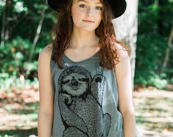 Peace Out Sloth - oversized tank top, loose slouchy womens tank, 5% Donated to Wildlife, free spirit, sloth vibes, by Simka Sol