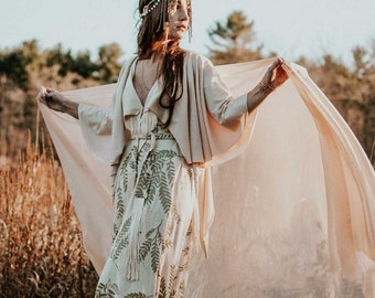 The Gown || Organic Wedding Dress, bohemian bride, free spirit, wanderlust bride, natural bride, organic wedding, gold || by Simka Sol®