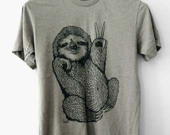 Peace Out Sloth, 5% Donated to Wildlife, mens sloth tshirt, mens tshirt, gifts for him, sloth gifts, fun gifts for him, t-shirt, Simka Sol