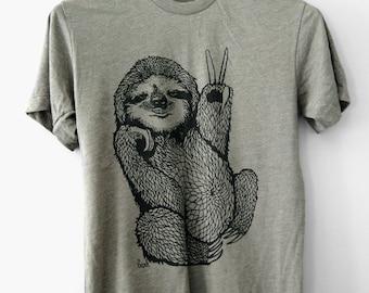 Peace Out Sloth, 5% Donated to Wildlife, mens sloth tshirt, mens tshirt, gifts for him, sloth gifts, fun gifts for him, t-shirt, Simka Sol