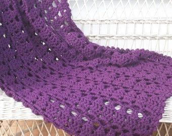 Dark Plum Purple Afghan Blanket