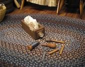 Dollhouse Miniature Sewing Box Drawer Antique Bobbin Spool Clothespins Darner