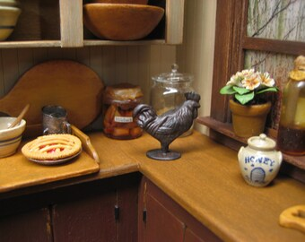 Dollhouse Miniature  Rooster Figurine Cast Iron Finish