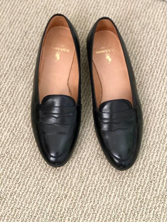 Vtg Black Leather Ralph Lauren Loafers 6