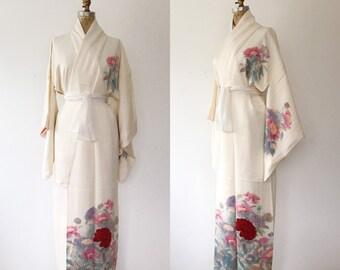 aefcd5919d Crimson Flower kimono   kimono robe   vintage Kimono