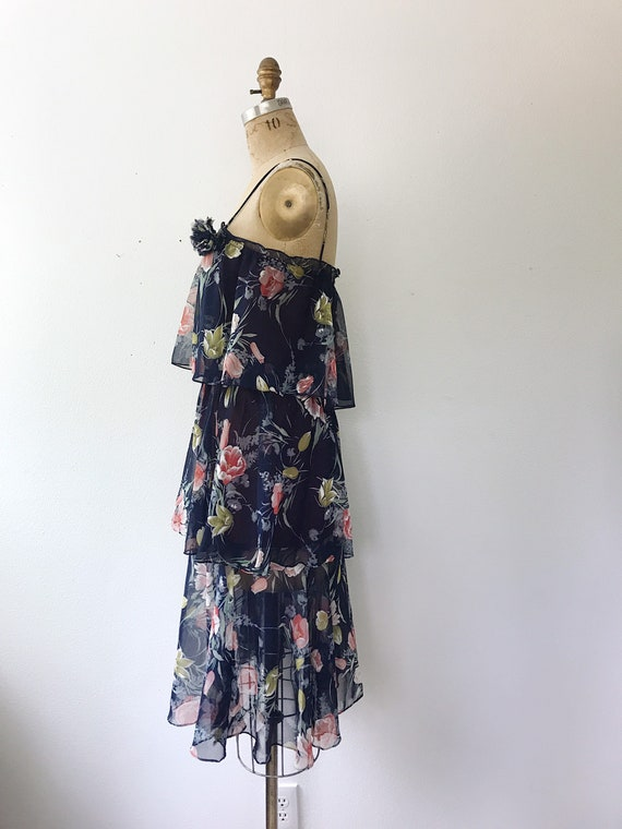 Navy Ruffle dress / Tulip print dress / 1970s vin… - image 7