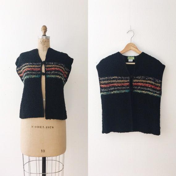 vintage knit vest / black sweater vest / 70s sweat