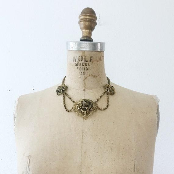 50s vintage necklace / Brass Festoon necklace / Fi