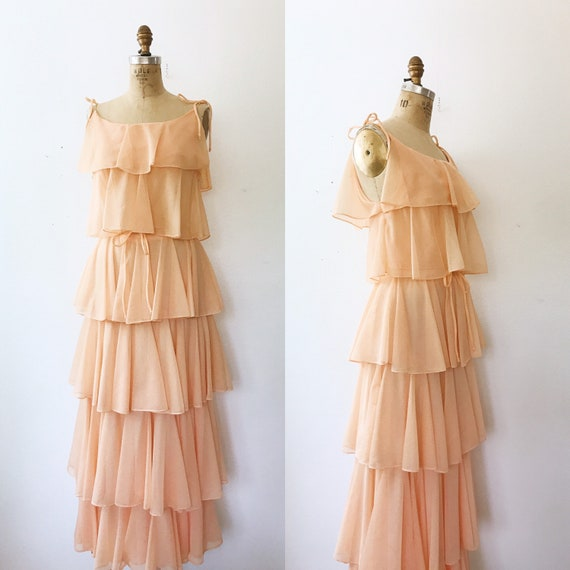 Peach Ruffle dress / Ricasoli dress / 1970s vintag