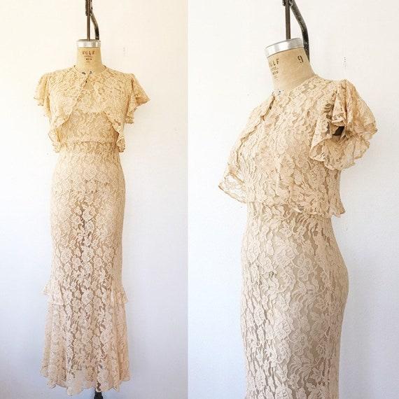 1930s lace evening gown / vintage lace dress / Dov