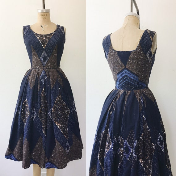 1950s cotton dress / 50s vintage dress / Mosaic Su
