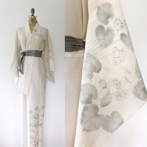 Vintage Kimono Vintage White Gauze Kimono Robe White Kimono Robe