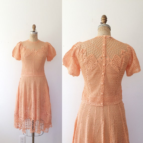 vintage crochet dress / peach lace dress / Milena