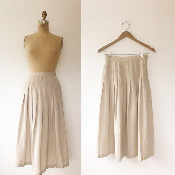 pleated midi skirt / 80s vintage skirt / vintage … - image 1