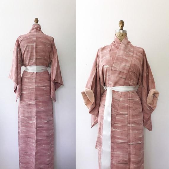 Kawa silk crepe kimono / kimono robe / vintage Kim