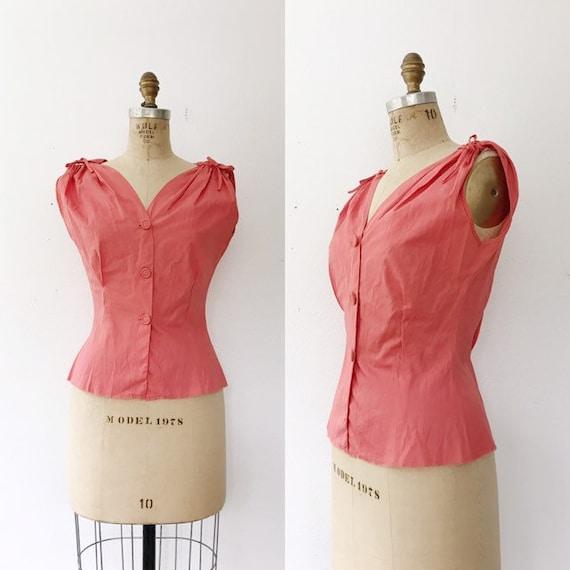 1950s vintage blouse / 50s cotton blouse / Coral c
