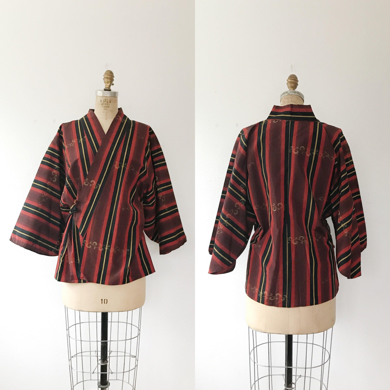 antique silk red checkered kimono
